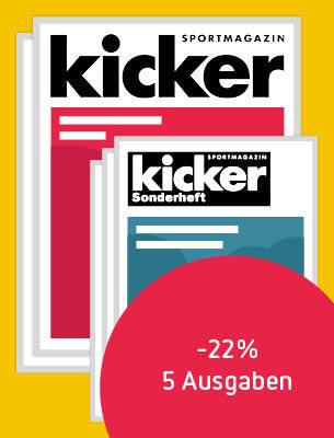 2 Ausgaben KICKER + 3 Sonderhefte