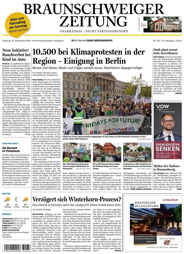 Braunschweiger Zeitung vom 21.09.2019 - als ePaper im