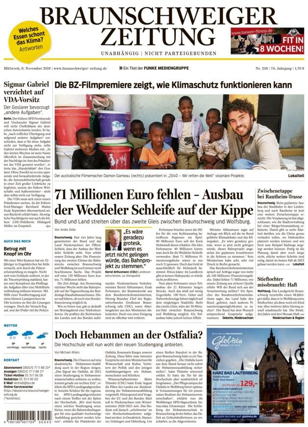 Braunschweiger Zeitung vom 06.11.2019 - als ePaper im