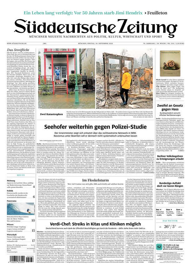 Süddeutsche Zeitung vom 18.09.2020 - als ePaper im iKiosk