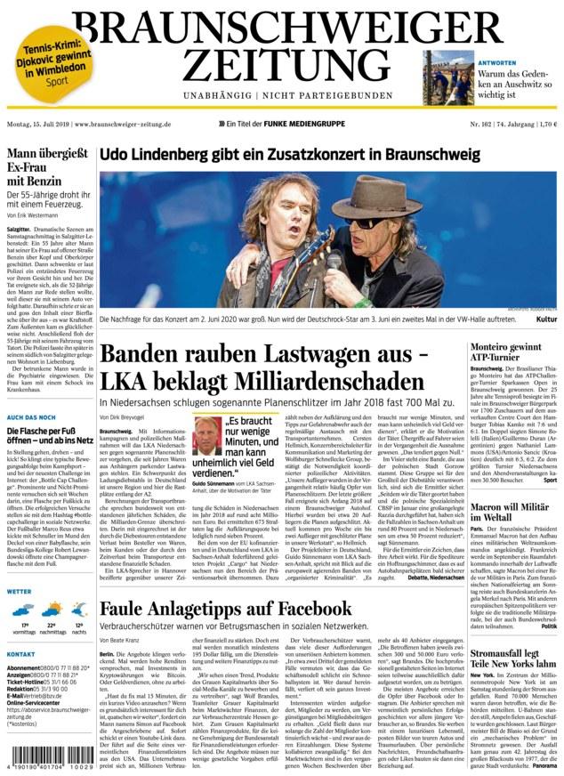 Braunschweiger Zeitung vom 15.07.2019 - als ePaper im